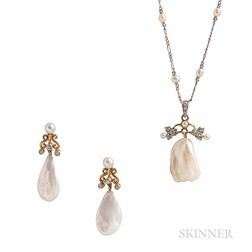 Antique Freshwater Pearl Pendant and Earrings