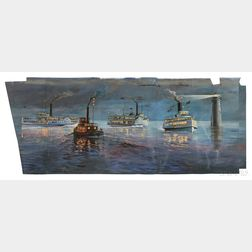 Don Aikens (American ac. late 20th/early 21st Century) Mural Depicting Nantasket Beach Steamship Co. Steam...