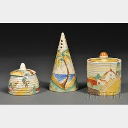 Clarice Cliff Pottery Sugar Sifter and Two Honey Pots