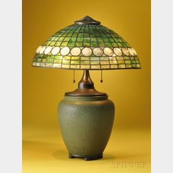 Grueby Pottery Table Lamp with Mosaic Glass Shade