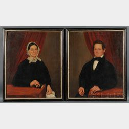 Joseph Goodhue Chandler (Massachusetts and New York, 1813-1884) Pair of Portraits of Captain Charles and Sylvia Parsons of Conway, M...