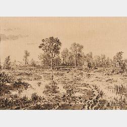 Théodore Rousseau (French, 1812-1867)      Terrains boisés et humides
