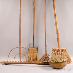 Three Brooms, a Rake, and a Brass Bed Warmer.