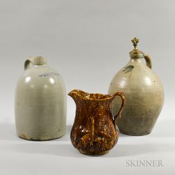 Two Stoneware Jugs and a Rockingham-glazed Pitcher