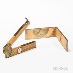 Two Brass-bound Folding Boxwood Clinometer Rules