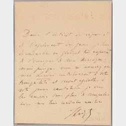 Liszt, Franz (1811-1886) Autograph Note Signed.