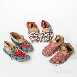 Three Pairs of Plains Beaded Hide Moccasins
