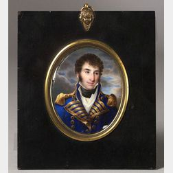 William Russell Birch (Anglo/American, 1755-1834)  Miniature Portrait of Stephen Decatur Jr. (1779-1820).