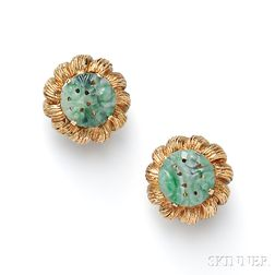 14kt Gold and Jade Earclips