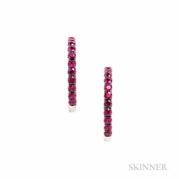18kt White Gold and Ruby Hoop Earrings