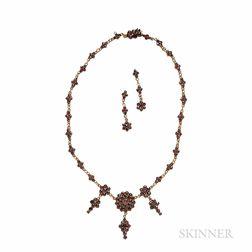 Bohemian Garnet Necklace and Earrings