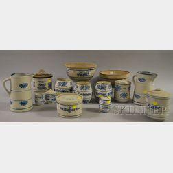 Fourteen Pieces of Blue and White Decorated Glaze Stoneware Kitchenware