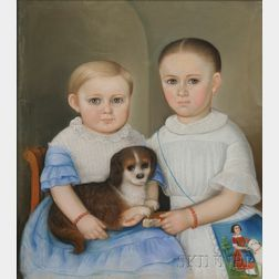 American School, 19th Century      Portrait of Two Children and Their Spaniel.