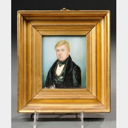 American School, 19th Century      Miniature Portrait of a Young Man.