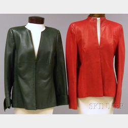 Two Akris Leather Jackets