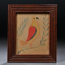 Framed Fraktur of a Parrot Perched on Branch