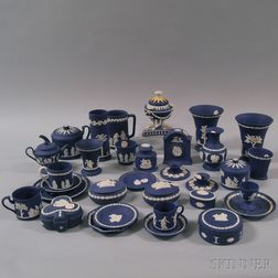 Thirty-two Wedgwood Dark Blue Jasper Items