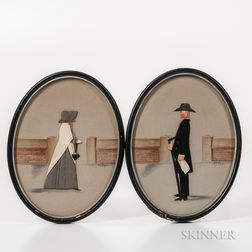 Two Mixed-media Quaker Silhouettes
