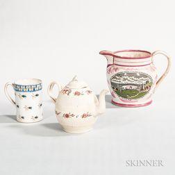 Three English Pottery Table Items