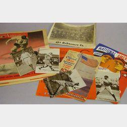 Three 1945 Major League Baseball Score Card/Programs, a 45th Ordinance Co. Baseball   Team Photograph, and Five 1947 Young America