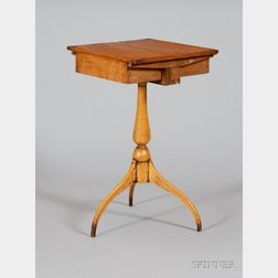 Shaker Attributed Tiger Maple Spider-leg Sewing Stand with Dual Drawer