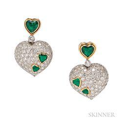 Platinum, Emerald, and Diamond Earrings, Harry Winston