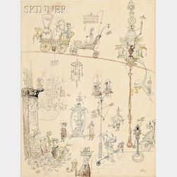 Frederick Rowland Emett (British, 1906-1990)      New York:  Third Avenue...