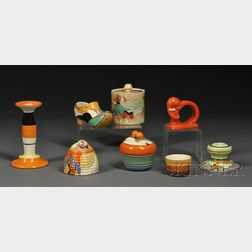 Eight Assorted Clarice Cliff Pottery Items