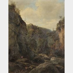 Joseph Antonio Hekking (American, 1830-1903)      View of a Fisherman in a River Gorge