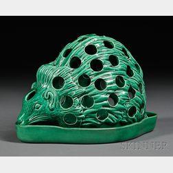Wedgwood Green Glazed Majolica Hedgehog Crocus Pot and Stand