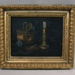 American School, 20th Century      Still Life with Knitting Basket and Candlestick.