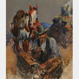 Harry Brown Baker (American, 1868-1941)    Cowboy with Horse and Pistol