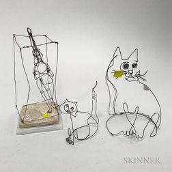 Richard Bertman Wire Figures of a Cat, Kitten, and Martin Sheuer