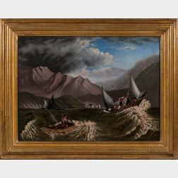 Attributed to Thomas Chambers (New York, 1808-1869)      Approaching Storm above a Mountainous Cove