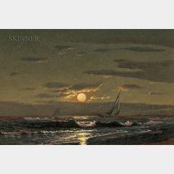 Warren Sheppard (American, 1858-1937)      Moonlight Sailing