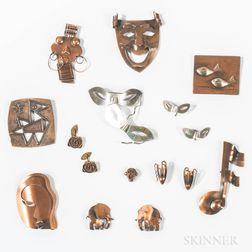 Group of Figural Copper Brooches