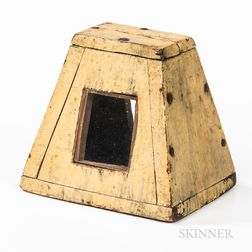 Glazed Cream-painted Wood Trapezoidal Coin Bank