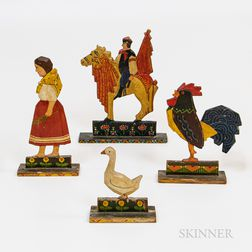 Four Carved and Painted Folk Figures