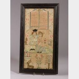 Framed English Needlepoint Sampler