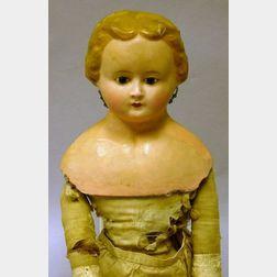 Large Wax over Papier-mache Shoulder Head Doll