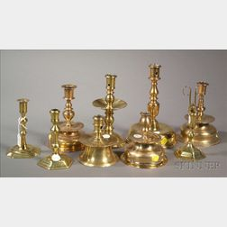 Group of Nine Continental Brass Candleholders and Accessories
