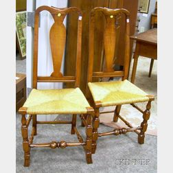 Pair of Queen Anne Maple Yoke-back Side Chairs with Spanish Feet.