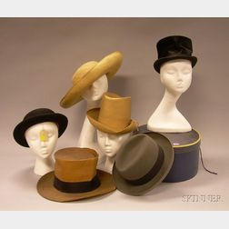 Group of Man's 19th and 20th Century Hats