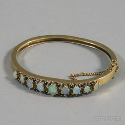 14kt Gold, Opal, and Sapphire Hinged Bangle Bracelet
