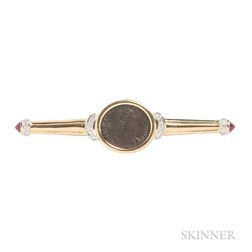 18kt Gold and Bronze Coin Brooch