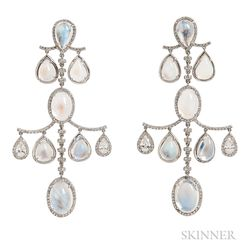 Platinum, 18kt White Gold, Moonstone, and Diamond Earclips, Fred Leighton
