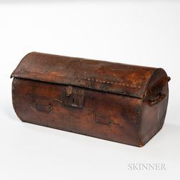 Leather-covered and Tacked Cylindrical Trunk