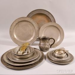 Approximately Twenty-five Pieces of Pewter Tableware