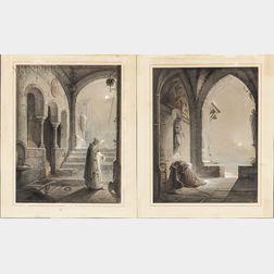 Johann Caspar Nepomuk Scheuren (German, 1810-1887)      Two Unframed Ink, Watercolor, and Gouache Paintings: Monk Praying