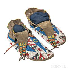 Pair of Large Beaded Hide Moccasins
